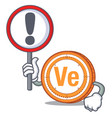 with sign veritaseum coin character cartoon vector image vector image
