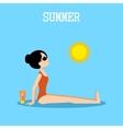 Woman sunbathes on the beach vector image