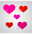 paper red pink hearts pierced with arrows vector image