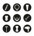 Shaving black icons set vector image