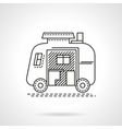 Camping trailer flat line icon vector image