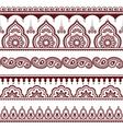 Mehndi Indian Henna tattoo brown seamless pattern vector image