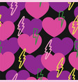 romantic pattern with hearts and lightning vector image