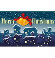 A christmas sign showing a village vector image vector image
