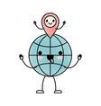 animated kawaii world globe and kawaii map pointer vector image
