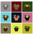 assembly flat icons flowering pot vector image vector image
