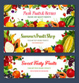 banners for fresh fruit shop vector image vector image