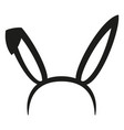 black and white bunny party ears silhouette vector image vector image