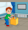 boy toddler picking up his toy to store in the con vector image