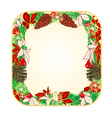 Button square Christmas Spruce and poinsettia