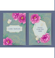 card templates with pink peony flowers and vector image
