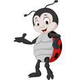 cartoon ladybug presenting vector image vector image
