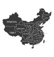 china map labelled black vector image