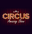 circus amazing show banner sign for poster vector image vector image