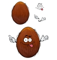 Cute happy cartoon coconut with a cheesy grin vector image