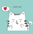 cute sketch cat with heart in a cloud vector image