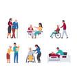 elder people care volunteers helping old people vector image vector image