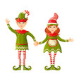 elf boy and girl holding hands human-shaped vector image vector image