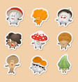 emoticons mushrooms vector image