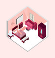 feminine bedroom isometric home interior design vector image