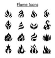 flame fire burn icon set vector image vector image