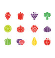 fruits and vegetables fresh icons set flat design vector image