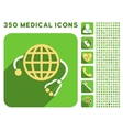 Global Medicine Icon and Medical Longshadow Icon vector image vector image