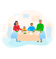 happy family home with children sitting at table vector image vector image