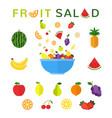 healthy food concept fruit salad in blue bowl vector image vector image