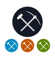 Icon of a Crossed Pickaxe and Sledgehammer vector image