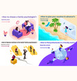 isometric family psychology and conflicts vector image