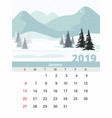 january calendar 2019 mountain winter landscape vector image vector image