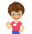 little nerd boy showing his blank name tag vector image vector image