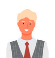 man portrait closeup in tie and shirt isolated vector image vector image