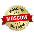 Moscow round golden badge with red ribbon vector image vector image