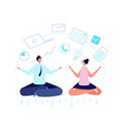 multitask office people meditate businessman vector image vector image