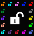 open lock icon sign Lots of colorful symbols for vector image