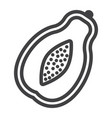 papaya line icon fruit and tropical vector image vector image