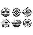 Plumber working logo and force plumbing label vector image vector image