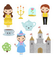 princess theme with castle prince carriage vector image vector image