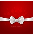 Red Christmas background ribbon with white silk vector image