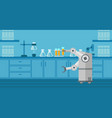 robot working in a laboratory with a test tube vector image vector image