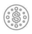 round dollar coin line icon vector image