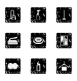 Sanitary day icons set grunge style vector image vector image