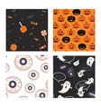 set halloween seamless pattern set for poster vector image vector image