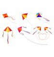 set kites on a white background childrens toys vector image vector image