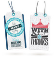 set of vintage thank you tags vector image