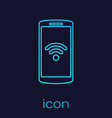 turquoise smartphone with free wi-fi wireless vector image vector image