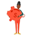 Woman carrying piggy bank vector image vector image