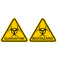 yellow triangular sign warning quarantine sars vector image